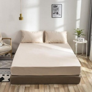 King Size Plain 3 Pieces Fitted Bedsheet Set - Beige Color