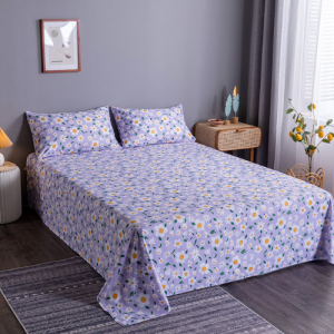 Purple Floral Design 3 Pieces King Queen and Double Universal Bedsheet Set