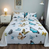 Butterfly Design 3 Pieces King Queen and Double Universal Bedsheet Set