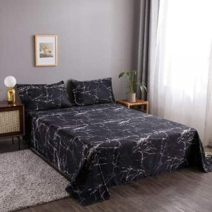 Black Marble Design 3 Pieces King Queen and Double Universal Bedsheet Set