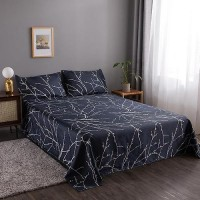 Black Twig Design 3 Pieces King Queen and Double Universal Bedsheet Set