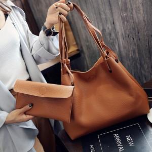 2 Pcs Set Women Litchi Pattern Large Capacity One Shoulder Bag - Brown