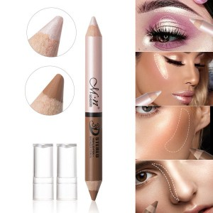 Dual Head 3D Stereo 2 In 1 Highlighter Pencil - Silver