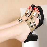 Thick Bottom Heels Party Wear Platform Sandals - Golden