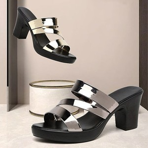 Thick Bottom Heels Party Wear Platform Sandals - Silver