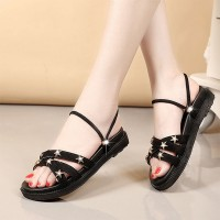 Stars Patched Flat Wear Casual Sandals - Black