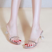 Goblet Heel Fancy Wear Party Special Transparent Sandals - Silver