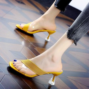 Goblet Heeled Cross Strap Ribbed Style Fancy Sandals - Yellow
