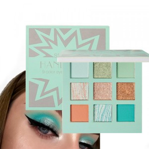 9 Color Pearlescent Matte Eye Shadow Tray - Green
