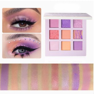 9 Colors Pearlescent Matte Eye Shadow Tray - Purple