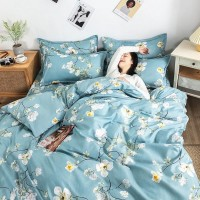 Printed Floral High Quality Bed Sheet With Pillow and Quilt Covers - 1.5m
