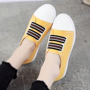Flat Rubber Sole Sports Wear Sneakers - Yellow