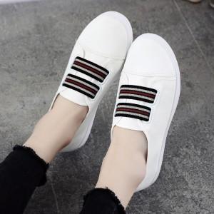 Flat Rubber Sole Sports Wear Sneakers - White