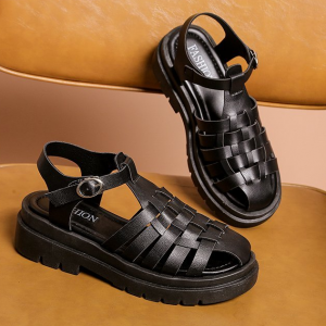 Hollow Synthetic Leather Buckle Closure Sandals - Black
