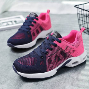 Gym Exercise Mesh Sportswear Lace Closure Sneakers - Dark Blue