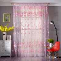 Tulip Tulle Design Window Sheer Curtains 2 Pieces Set - Pink