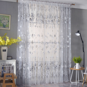 Tulip Tulle Design Window Sheer Curtains 2 Pieces Set - Gray