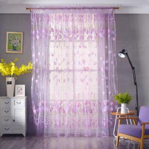 Tulip Tulle Design Window Sheer Curtains 2 Pieces Set - Purple