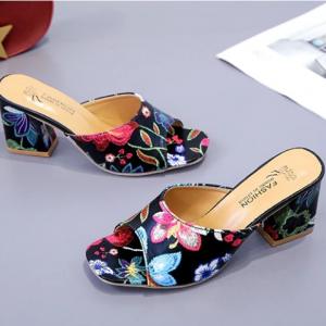 Floral Print Square Midi Heel Party Wear Sandals - Black