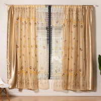 Modern Drape Tulle Design Double Layer Window Curtains 2 Pieces Set - Apricot