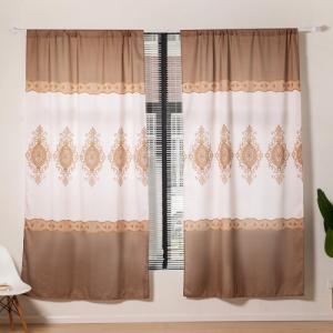 Modern Print Design Window Curtains 2 Pieces Set - Brown