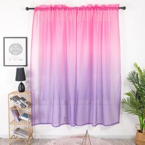 Elegant Ombre Tulle Design Short Window Sheer 2 Pieces Set - Purple Pink