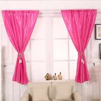 Elegant Tulle Short Window Curtain 2 Pieces Set  With Holders - Pink