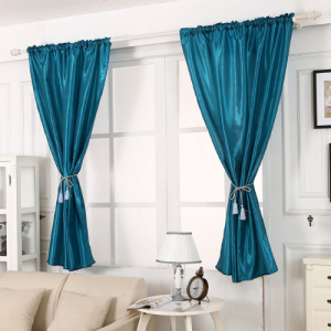 Elegant Tulle Short Window Curtain 2 Pieces Set  With Holders - Green