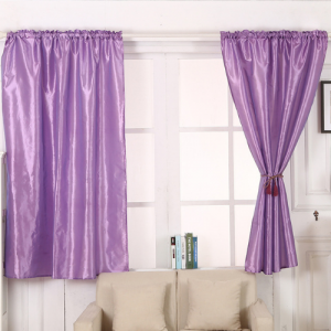 Elegant Tulle Short Window Curtain 2 Pieces Set  With Holders - Purple