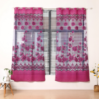 Modern Tulle Design Floral Window Curtains 2 Pieces Set - Hot Pink