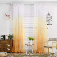 Yellow Color Ombre Sheer Set of 2 Pieces
