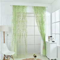 Window Sheer Willow Leaves Design Green Color Set of 2 Pieces