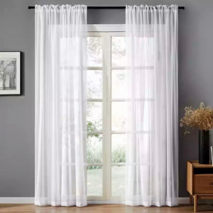 Window Sheer White Color Set of 2 Pieces