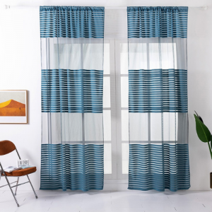 Modern Striped Tulle Window Sheer Curtains Set of 2 Pieces - Blue