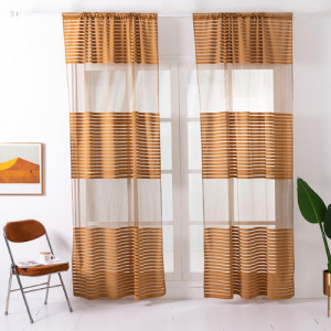 Modern Striped Tulle Window Sheer Curtains Set of 2 Pieces - Gold