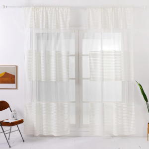 Modern Striped Tulle Window Sheer Curtains Set of 2 Pieces Milky White Color