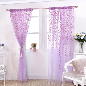 Window Sheer Willow Leaves Design Purple Color Set of 2 Pieces