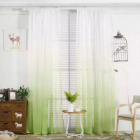 Green color ombre sheer, set of 2 pieces.