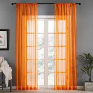 Window Sheer Orange Color Set of 2 Pieces