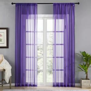 Window Sheer Purple Color Set of 2 Pieces