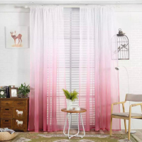 Pink Color Ombre Sheer Set of 2 Pieces