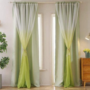 Window Curtains Green Ombre Design Double Layer Set of 2 Pieces