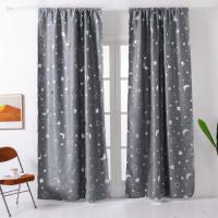 Window Curtains Grey Color, Stars & Moon Foil Design.