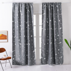 Window Curtains Grey Color Stars and Moon Foil Design