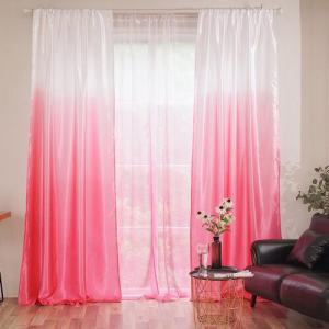 Pink Ombre Design Curtains Window Decor Set of 2 Pieces