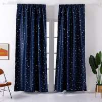 Foil Stars Navy Blue Design Window Curtains Set of 2 Pieces