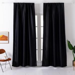 Window Curtains Black Color Set of 2 Pieces