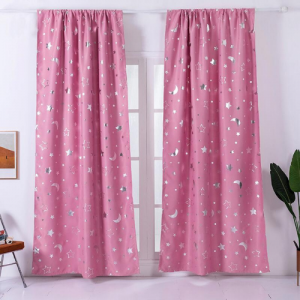 Window Curtains Pink Color Stars and Moon Foil Design