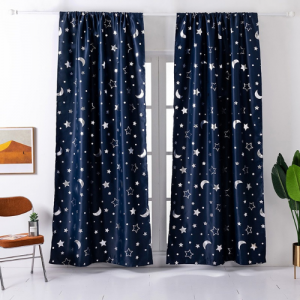 Window Curtains Navy Blue Color Stars and Moon Foil Design