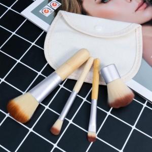 Bamboo Handle 4 Pieces Makeup Brush Set - Silver